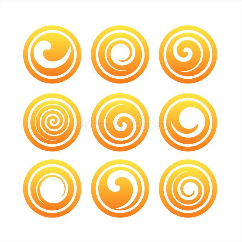 Set of 9 swirl signs stock image