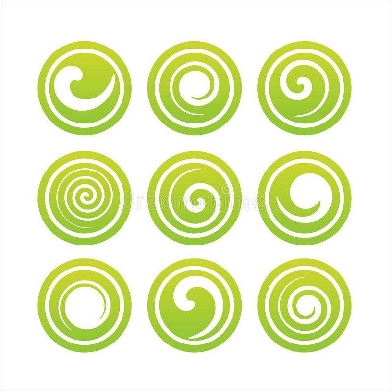 Set of 9 swirl signs royalty free stock photos