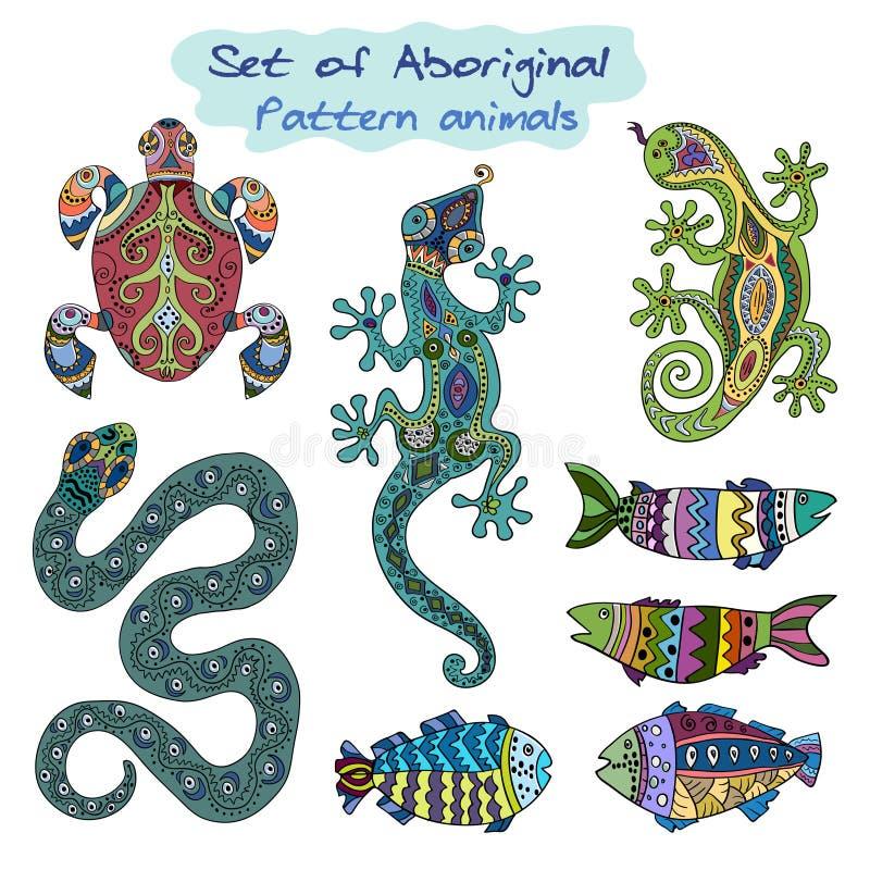 set aboriginal animals decorative background ornamental doodle coloring