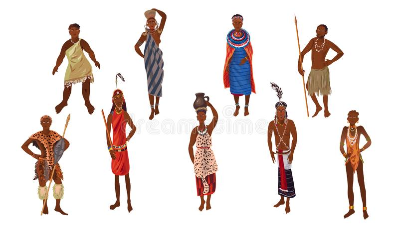 Set of aborigine woman and man from africa sunny continent. Set of cute aborigine woman and man from africa sunny continent. Cartoon style. Vector illustration stock illustration