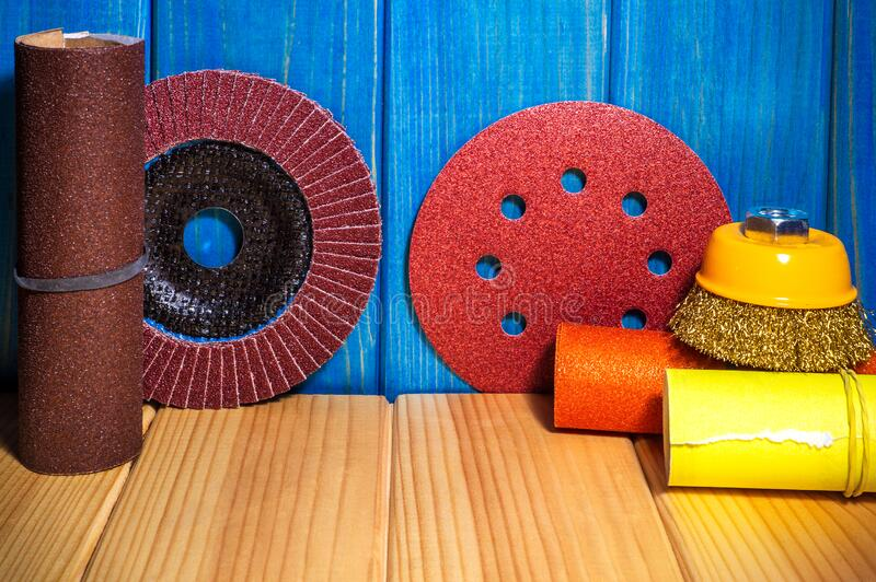 Set Of Abrasive Tools And Sandpaper Blue Wooden Board ...