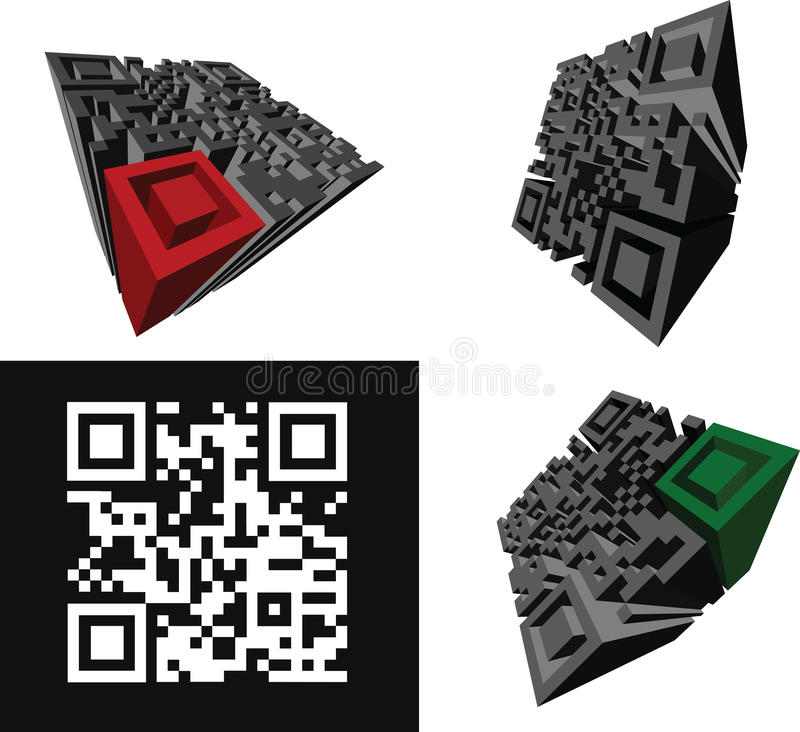 Download Set Of Abstract 3D  QR-code Stock Vector - Image: 23944375