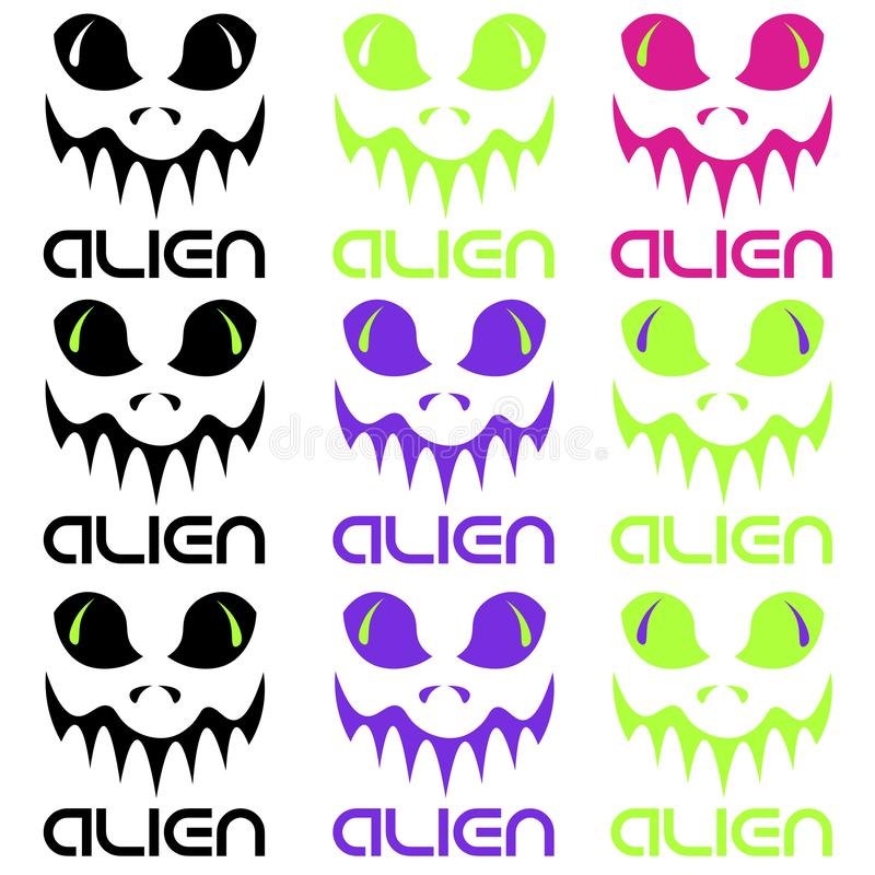 Set of abstract alien faces of different colors with the inscription stock illustration