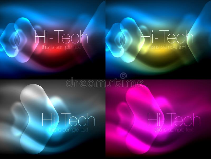 Set of abstract backgrounds. Blurred arrows in dark space. Neon pointers, glass glossy design, abstract techno vector illustration