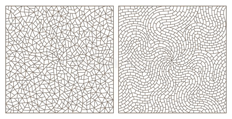 Contour set with abstract backgrounds contour stained glass, imitation of finely broken glass,rectangular images. Set of abstract backgrounds contour stained vector illustration