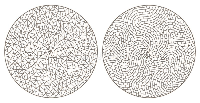 Contour set with abstract backgrounds contour stained glass, imitation of finely broken glass,round images vector illustration