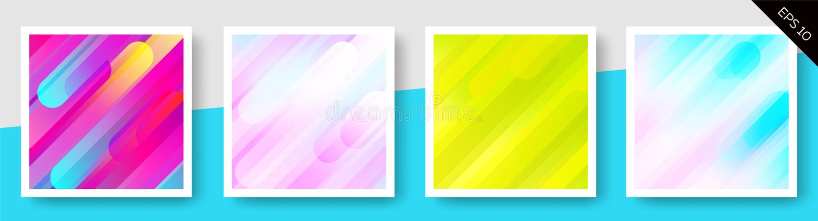 Set of abstract backgrounds. Illustrated set of colorful abstract backgrounds stock illustration