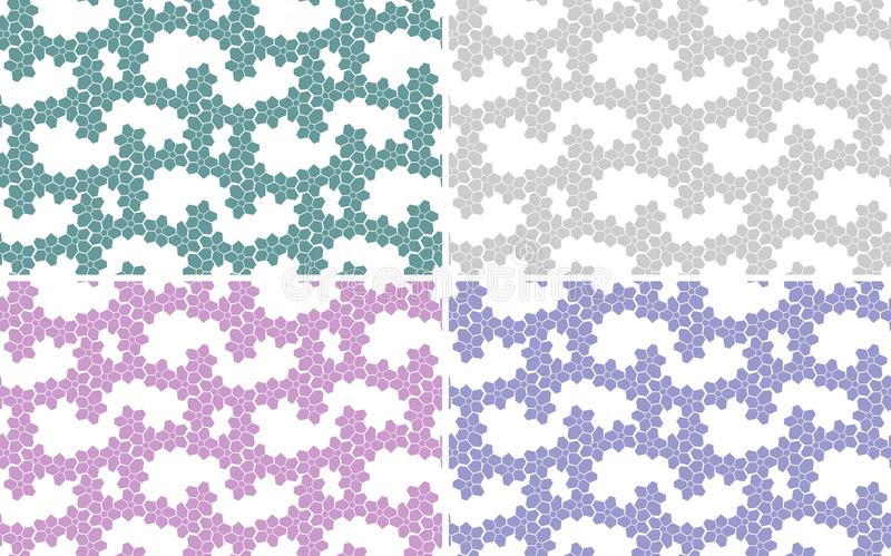 Set of abstract backgrounds, seamless texture. Different colours: pink, violet, light green, green. stock illustration
