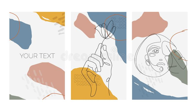 Set of abstract backgrounds templates. Modern abstract design with women face portrait and hand holding a flower. Vector. Modern abstract design with women face royalty free illustration