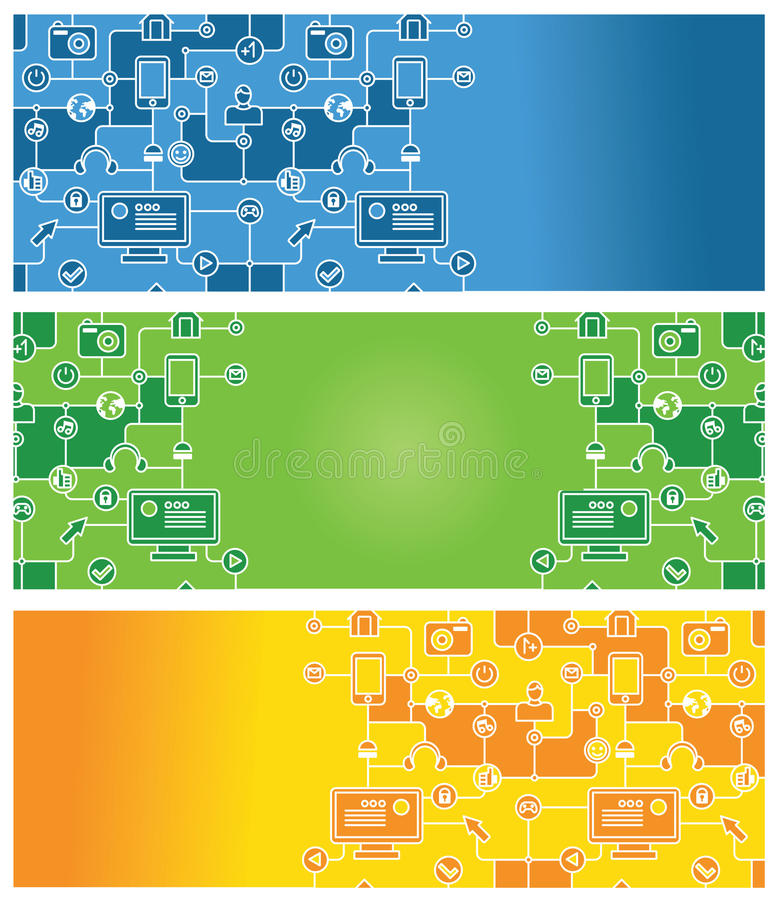 Download Set Of Abstract Banners With Social Media Icons Stock Vector - Image: 22648730
