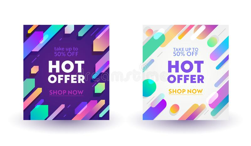 Set of Abstract Banners for Social Media Marketing. Hot Sale Offer for Shop or Discounter, Shopping Posters in Casual Modern. Simple Funky Style with Geometric stock illustration
