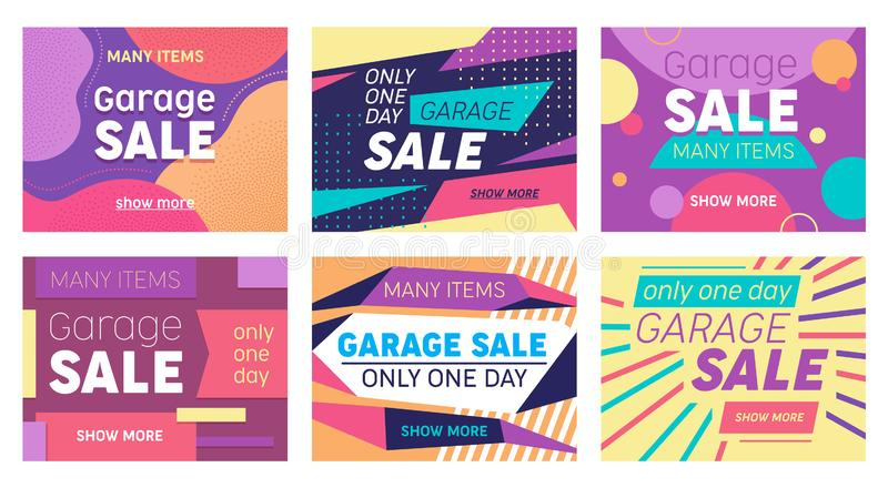 Set of Abstract Banners for Social Media Marketing or Print Design. Garage Sale Offer for Discounter Shop, Shopping Posters. In Modern Geometric Style with royalty free illustration