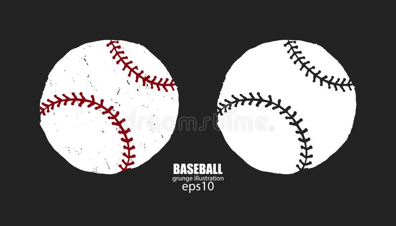 Set of abstract baseball balls on a dark background, isolated. Sports print design for T-shirts, grunge style. stock images