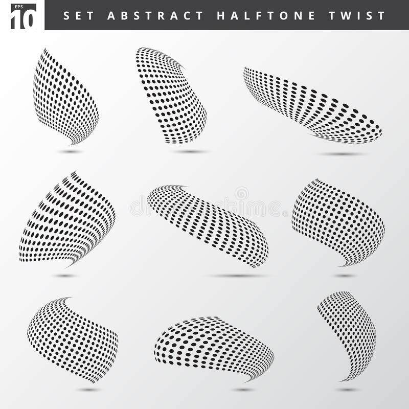 Set of abstract black color dots pattern halftone 3d twisted shapes on white background. stock illustration