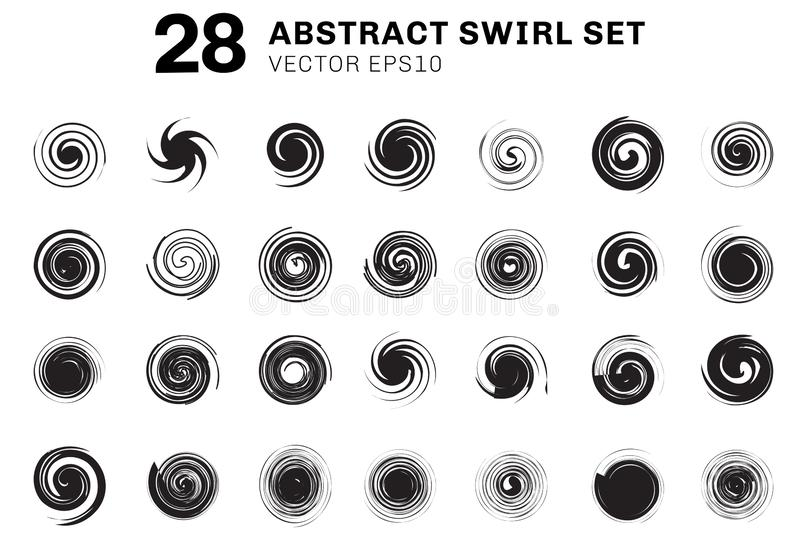 Set of abstract black spirals and swirl motion elements collection on white background. You can use for icons, ingredient brochure vector illustration