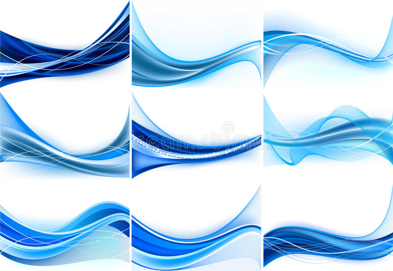 Set of abstract blue backgrounds stock illustration