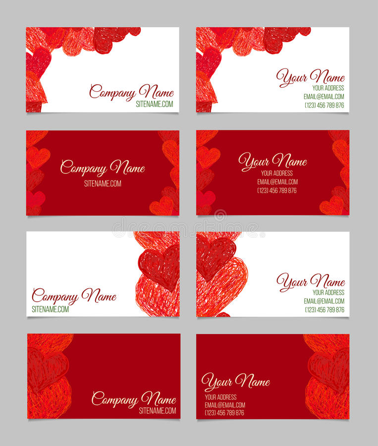Set of abstract business cards valentines day stock vector download set of abstract business cards valentines day stock vector illustration of cover colourmoves
