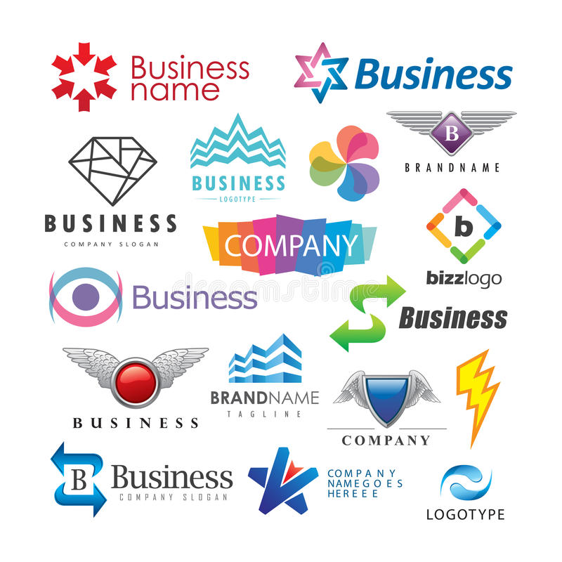 Set of abstract business logos royalty free illustration
