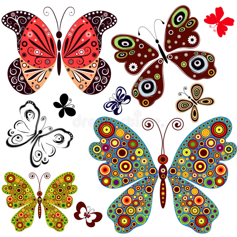 Set abstract butterflies royalty free illustration