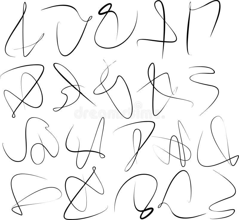 Set of abstract calligraphy swirl