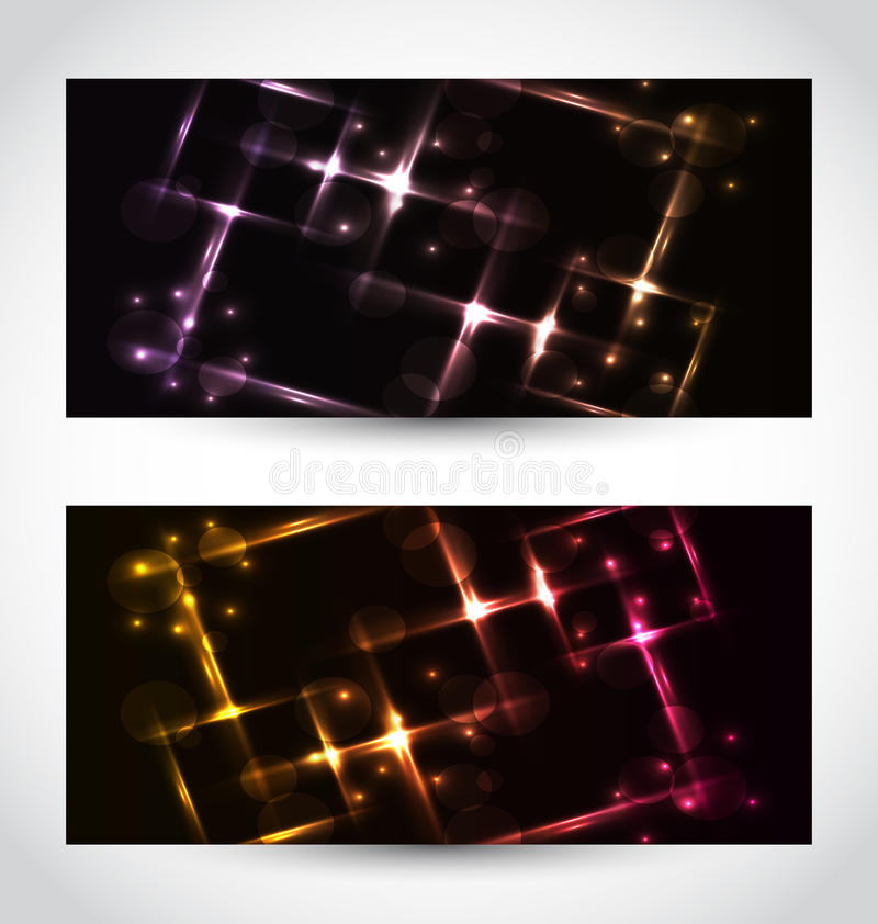 Set Abstract Cards With Glow Effects Royalty Free Stock Images
