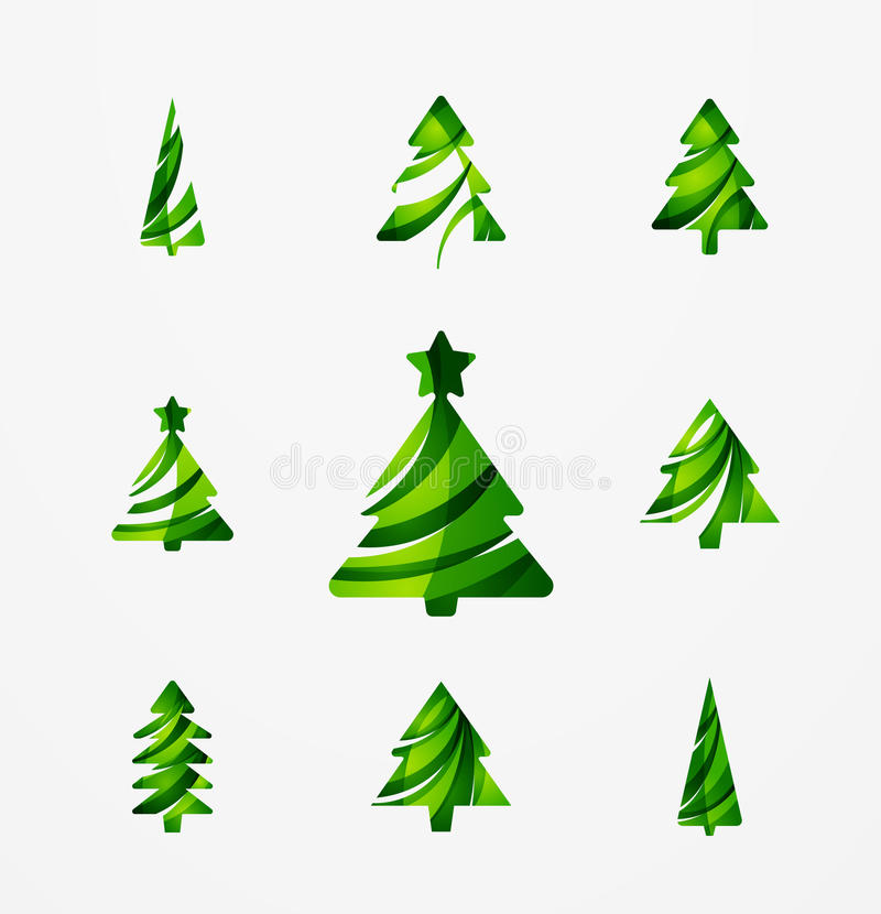 Modern Professional It Company Logo Design For Concept: Set Of Abstract Christmas Tree Icons, Business Stock