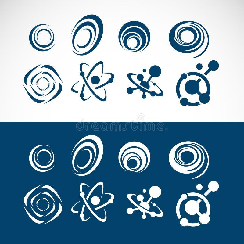set of abstract circle logo elements swirl design stock illustration