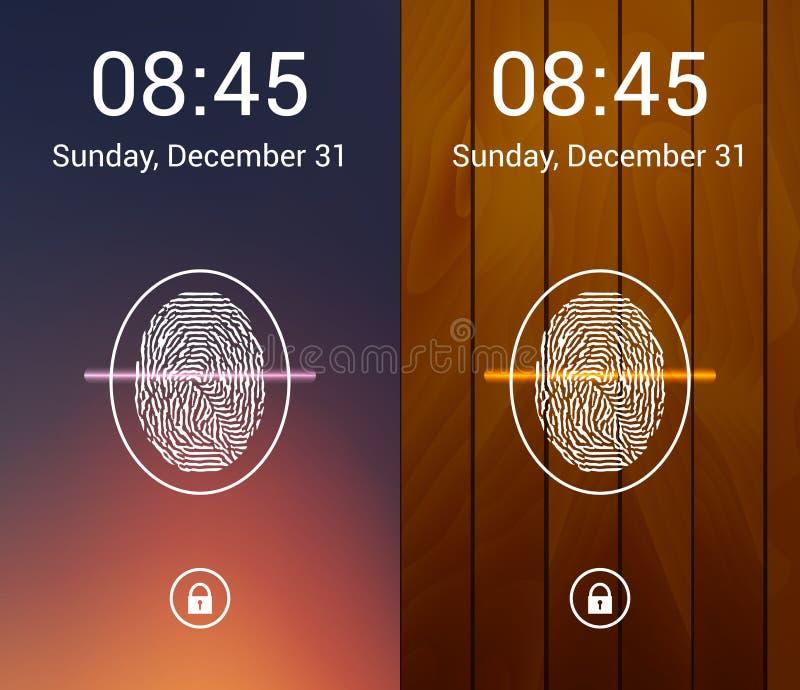 Set of Abstract Color Mobile Phones Backgrounds. Security fingerprint scanner concept. Lock screen set. Vector vector illustration