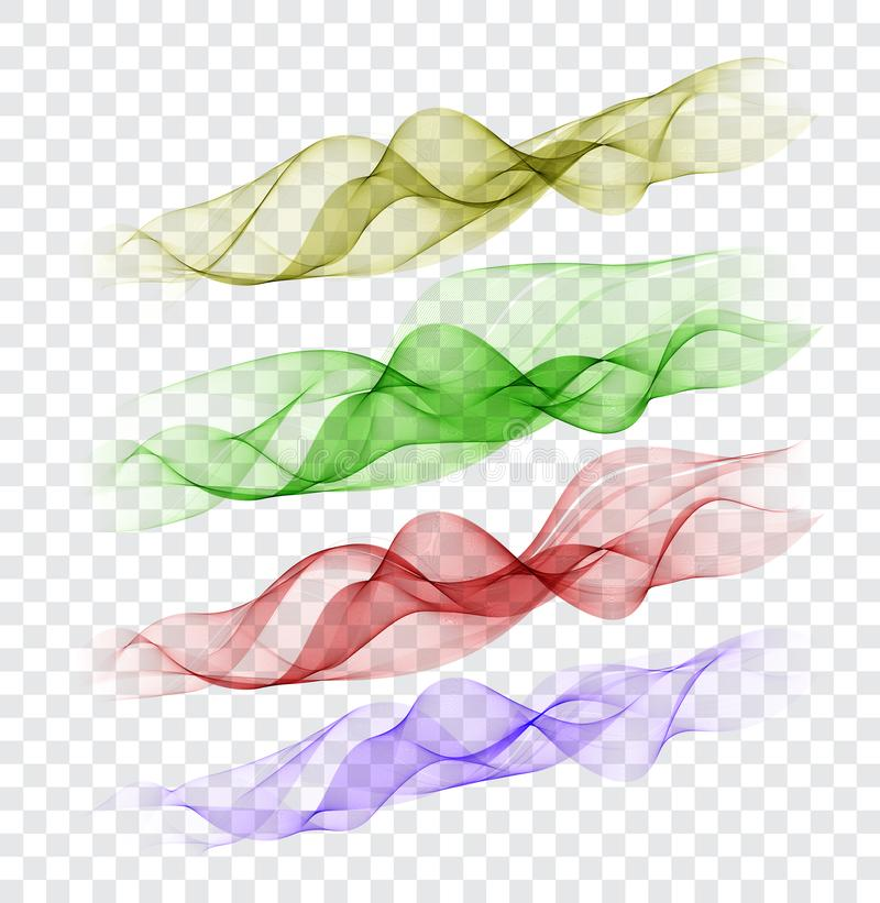 Set abstract color smoke wave. Transparent smooth Vector lines. stock illustration