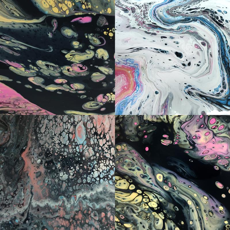 Set of abstract colorful liquid acrylic pattern made with fluid art technique stock illustration