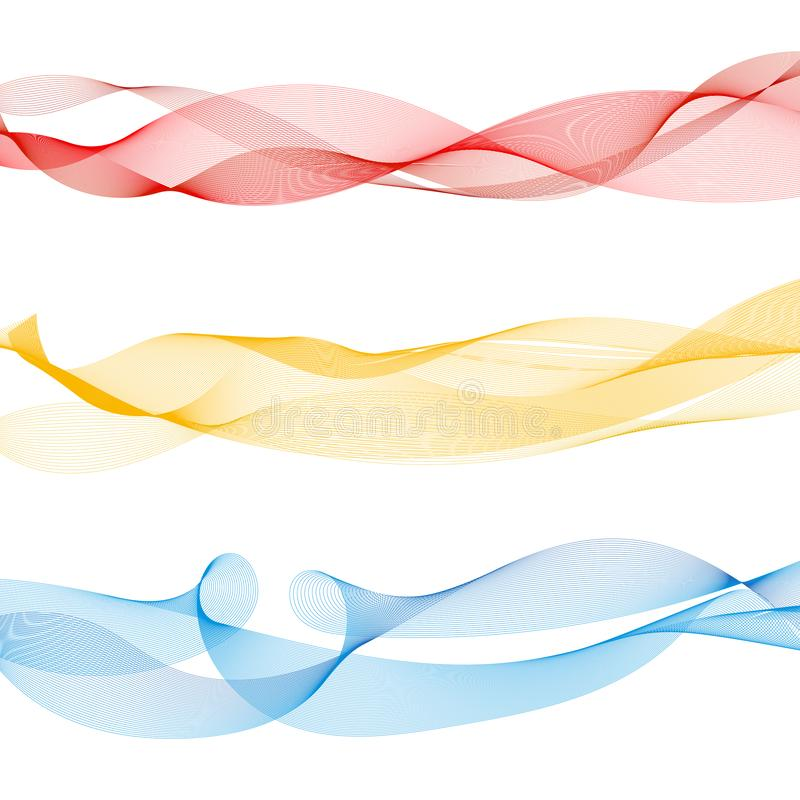 Set of abstract colorful smooth wave lines red, yellow, blue on white background stock illustration