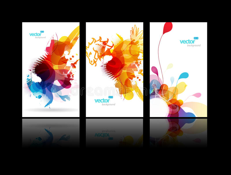 Set of abstract colorful splash illustrations. royalty free illustration