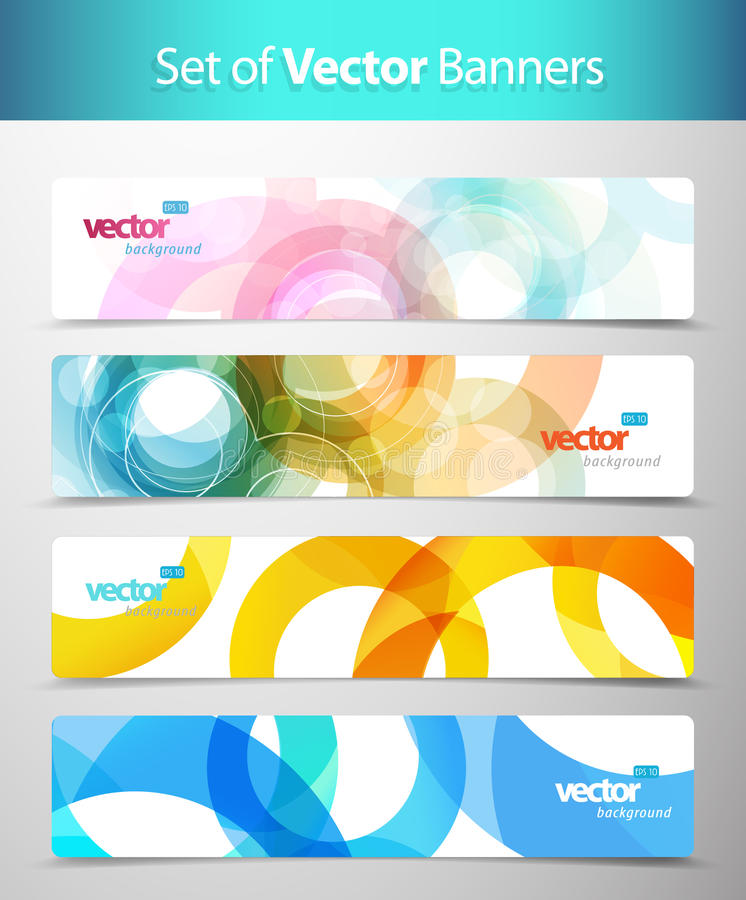 Set of abstract colorful web headers. stock illustration