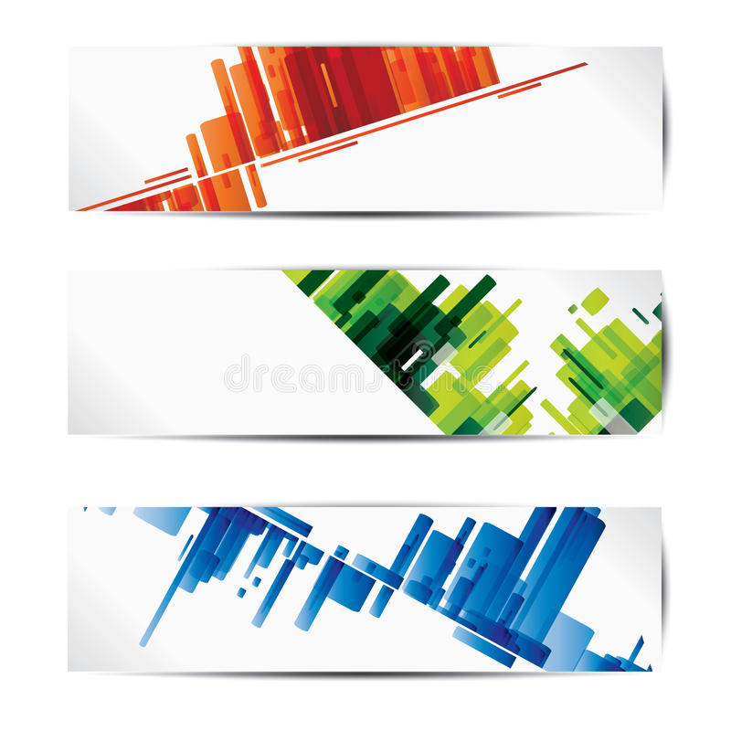 Set of abstract colorful web headers and cards royalty free illustration