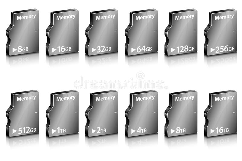 Set of abstract computer memory in different capacity. On white. Vector illustration vector illustration