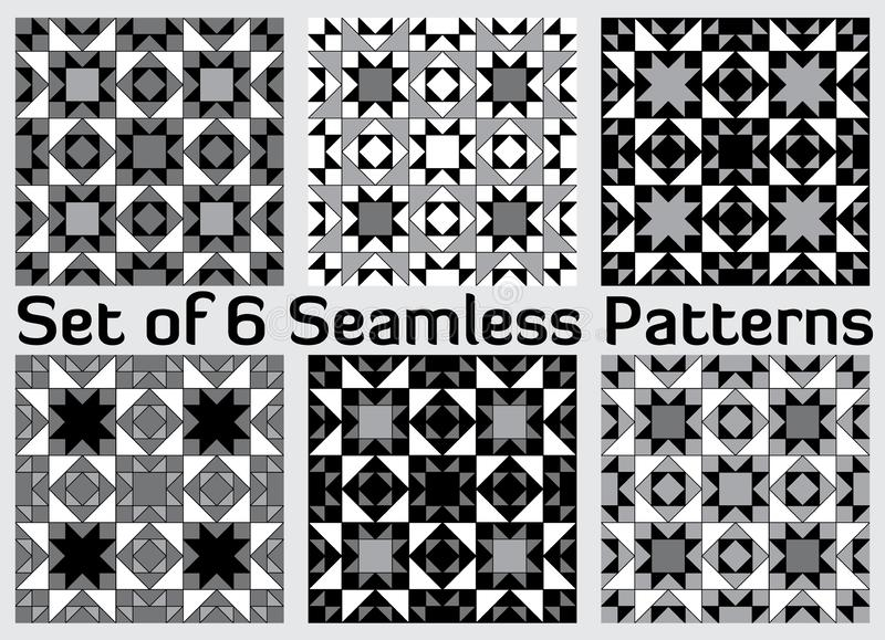 Set of 6 contemporary geometric seamless patterns with triangles and squares of black, grey and white shades. Set of 6 abstract contemporary geometric seamless stock illustration