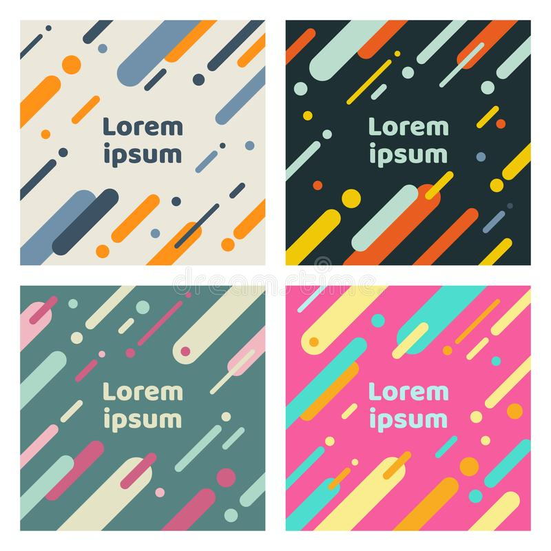 Set of abstract covers with flat geometric rounded lines pattern. Cool colorful backgrounds. You can use for Banners, Placards, royalty free illustration