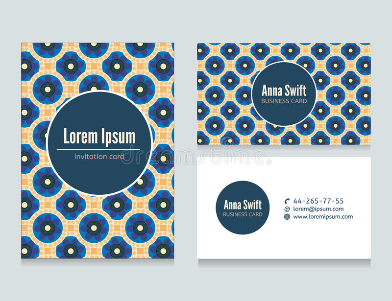 Set of abstract creative business cards design. Business card template, background pattern vector design. Floral geometric pattern. Vector illustration stock illustration