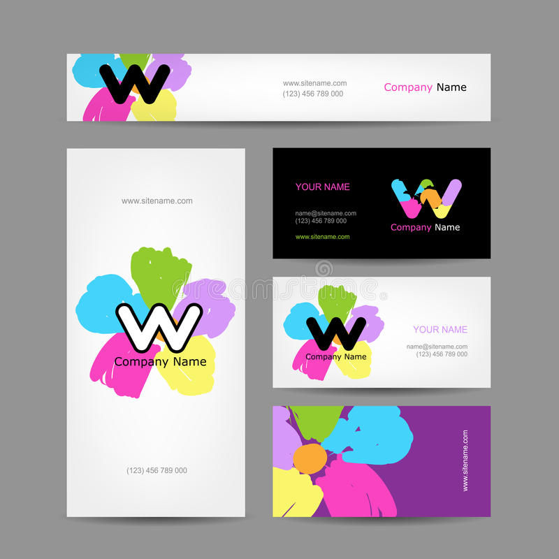 Set of abstract creative business cards design. Vector illustration vector illustration