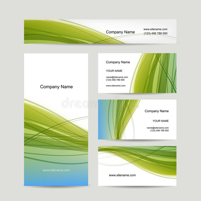 Set of abstract creative business cards design. Vector illustration stock illustration