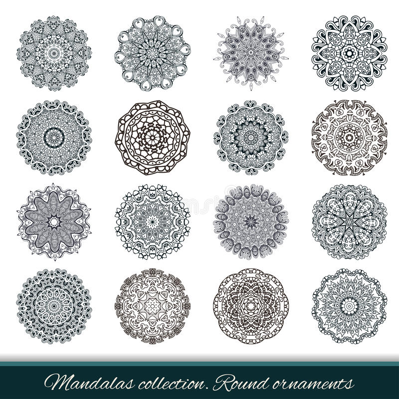 Set of abstract design element. Round mandalas in vector. royalty free illustration