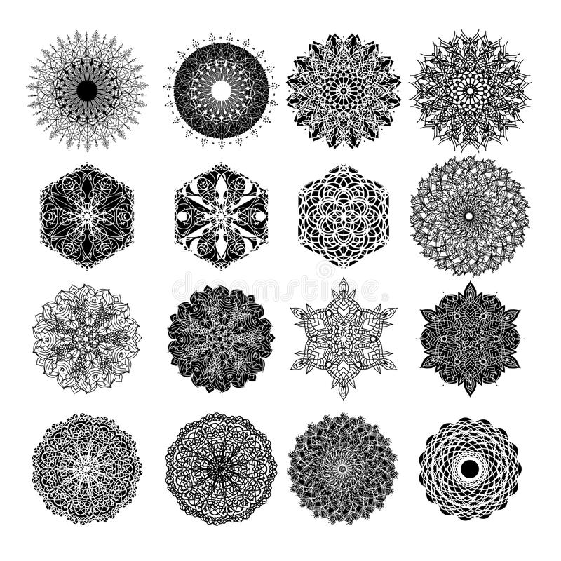 Set of abstract design element. Round mandalas in vector. Graphic template for your . Decorative retro ornament. vector illustration