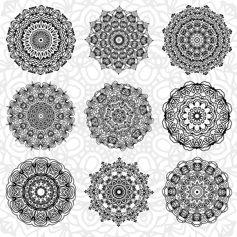 Set of abstract design element. Round mandalas in vector. Graphic template for your design. Decorative retro ornament. Hand drawn vector illustration
