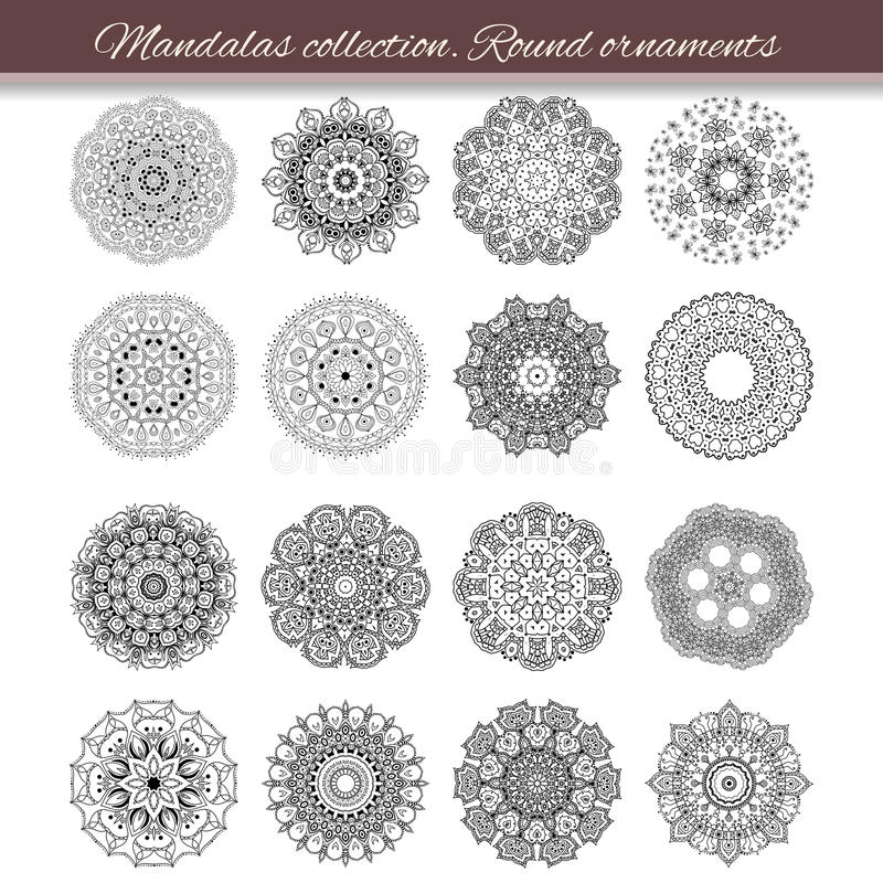 Set of abstract design element. Round mandalas in vector. Graphic template for your design. Decorative retro ornament. Hand drawn royalty free illustration