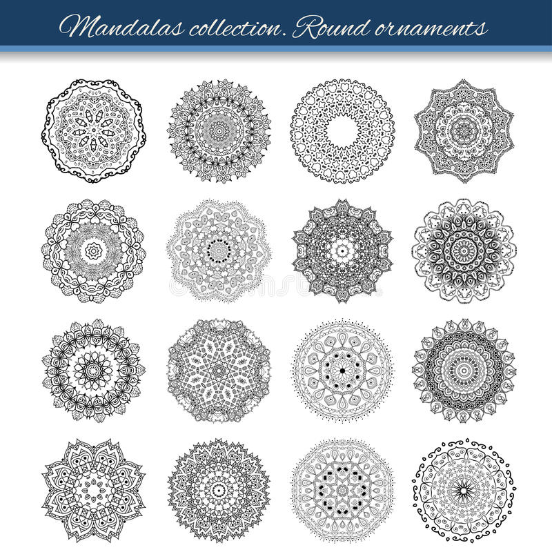 Set of abstract design element. Round mandalas in vector. Graphic template for your design. Decorative retro ornament. Hand drawn. Background with flowers royalty free illustration