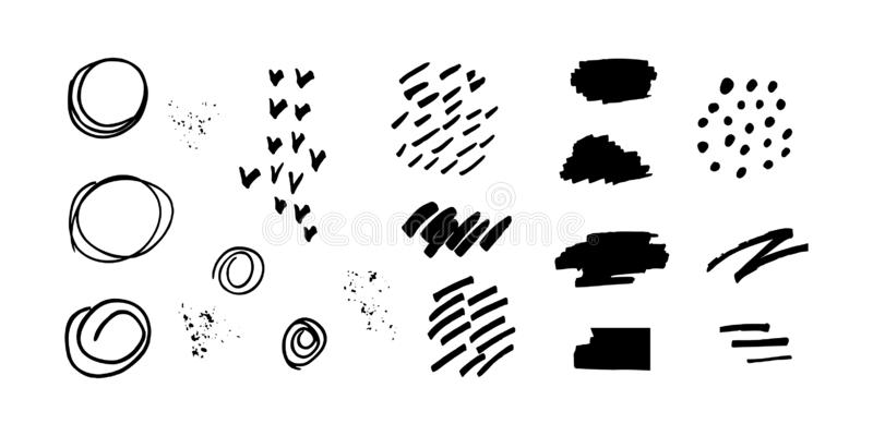 Set of abstract design elements - black color drawings in grunge style isolated on white background. brush strokes, spots, dots, royalty free illustration