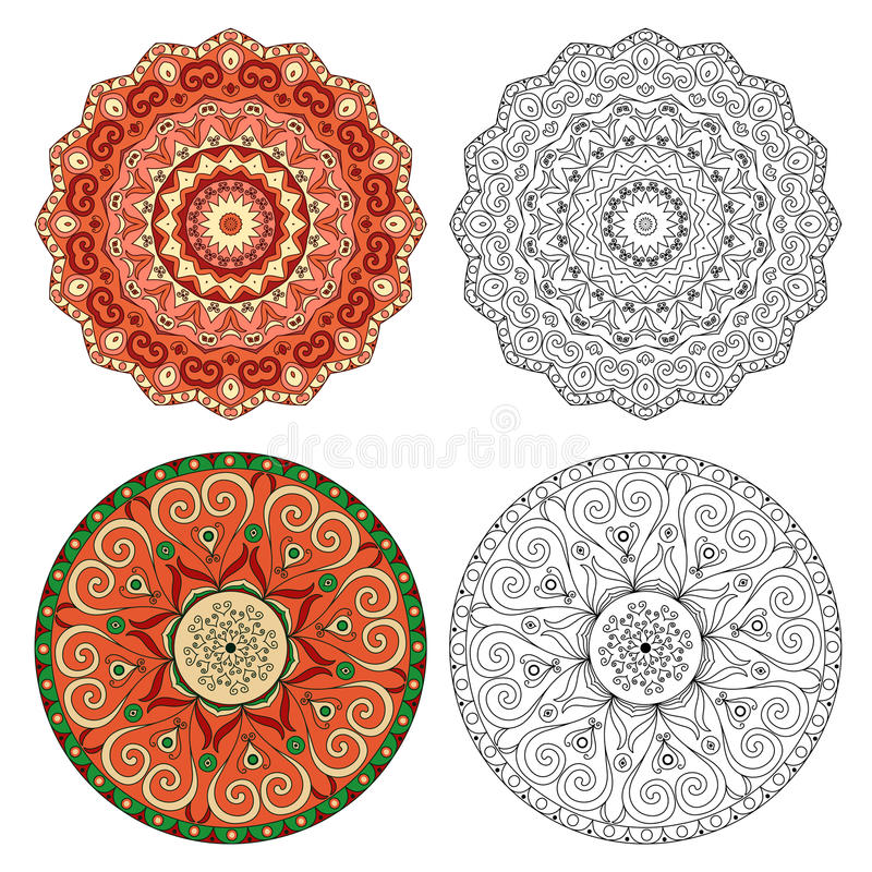 Set of abstract design elements. Round mandalas in vector. stock illustration