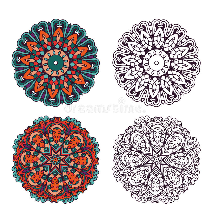 Set of abstract design elements. Round mandalas in vector. royalty free illustration