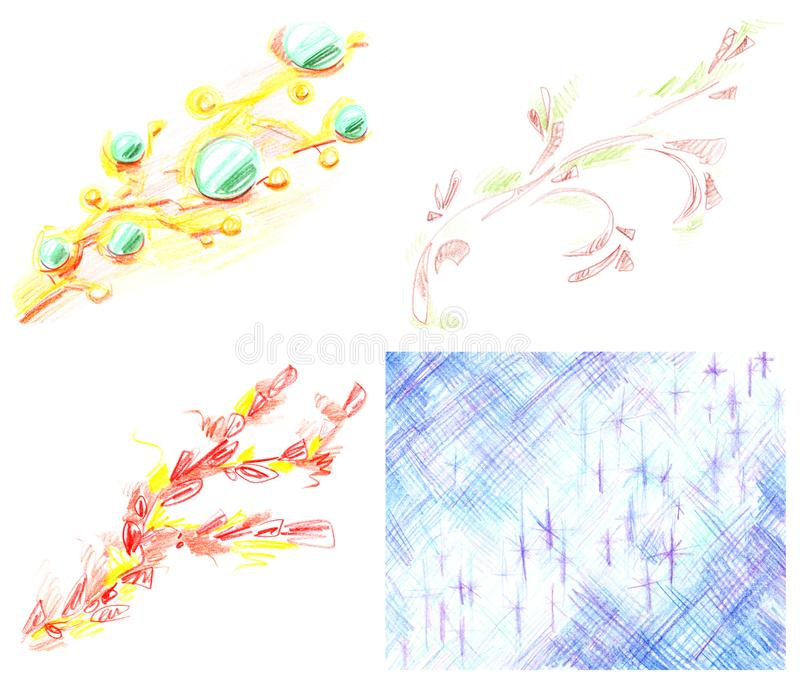 Set of abstract diagonal sloppy multicolored patterns, hand-drawn with colored pencils isolated on white background stock illustration