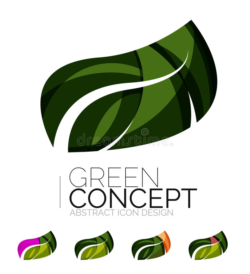 Set of abstract eco plant icons, business logotype. Nature green concepts, clean modern geometric design. Created with transparent abstract wave lines stock illustration